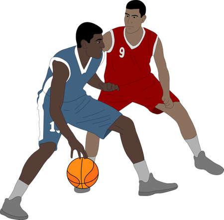 Basketball players illustration.