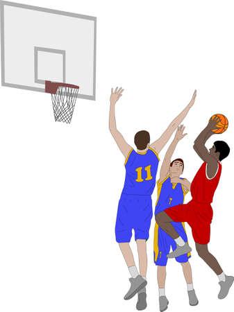basketball players illustration - vector