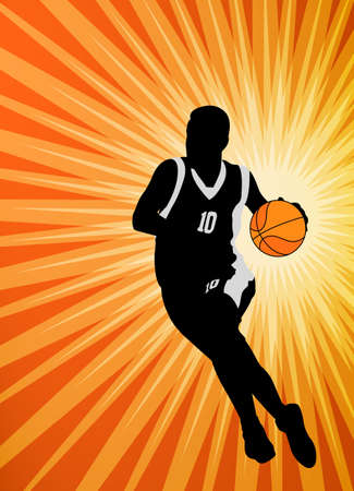 Basketball player on the abstract orange background vector.