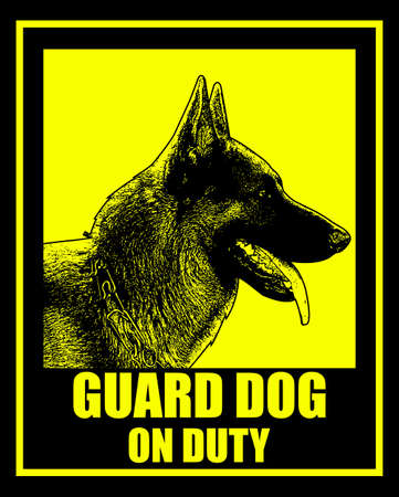 guard dog on duty sign - vector