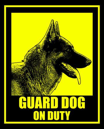 guard dog on duty sign - vector
