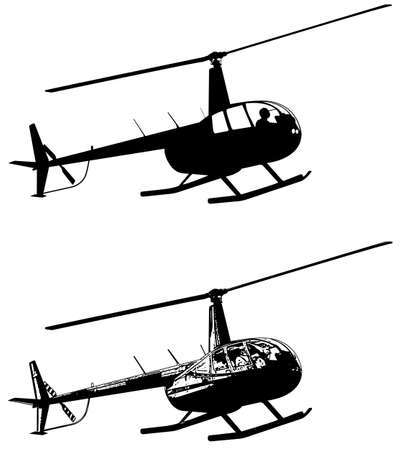 helicopter silhouette and sketch - vector Illustration