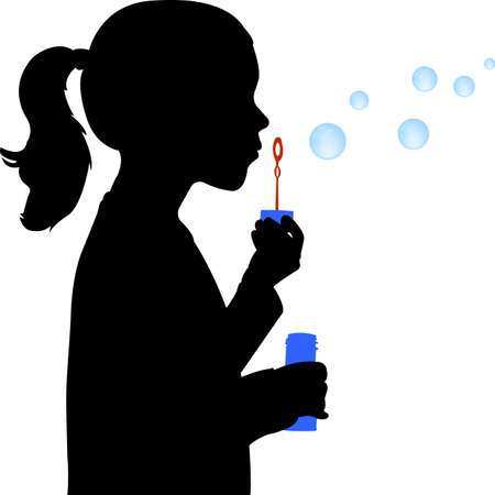 little girl blowing soap bubbles silhouette - vector