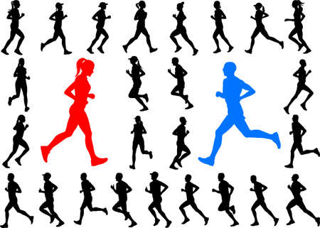 A runners silhouettes collection  vector isolated on plain background. Illustration