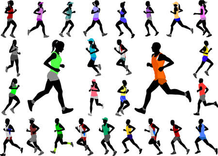 runners in color sportswear silhouettes collection - vector Illustration
