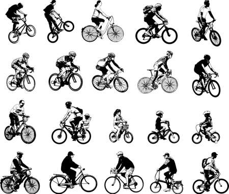 collection of 20 sketch bicyclists - vector