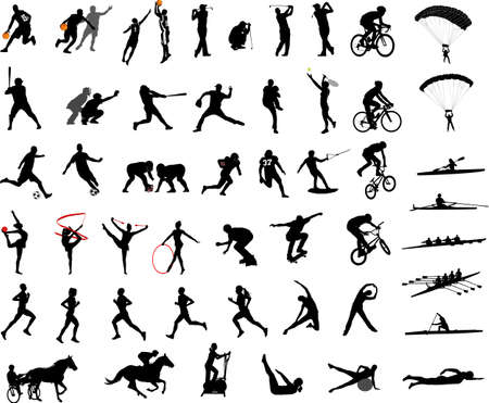 sport silhouettes collection - vector