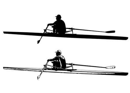 rower sketch and silhouette - vector