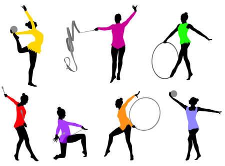 rhythmic gymnastics silhouettes - vector Illusztráció