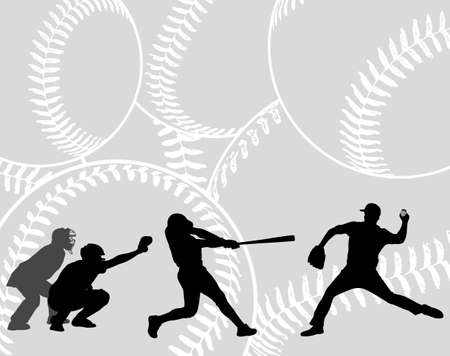 baseball players silhouettes on the abstract background - vector