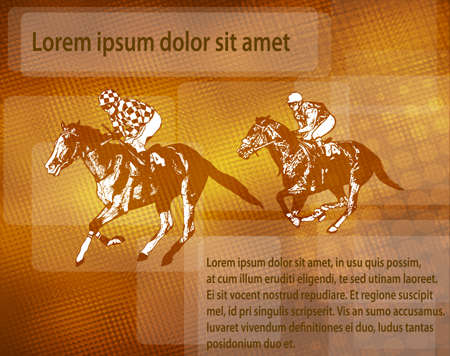 jockeys on racing horses over abstracy background with space for text - vector Illustration