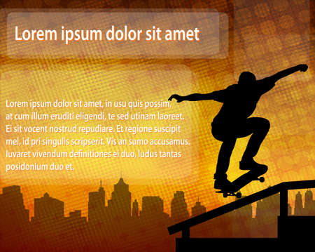 skateboarde silhouette over abstract background with space for text - vector