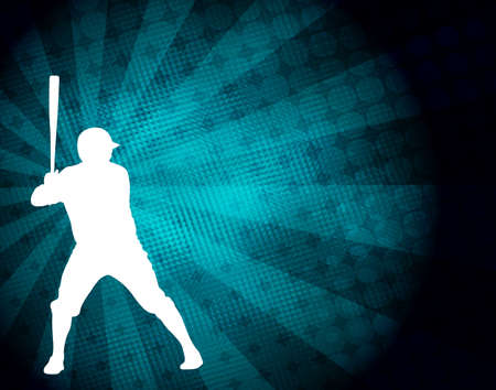 baseball player silhouette on the abstract background - vector