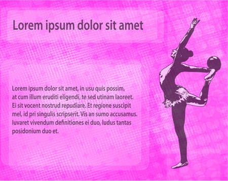 rhythmic gymnast dancer sketch silhouette on the abstract background - vector