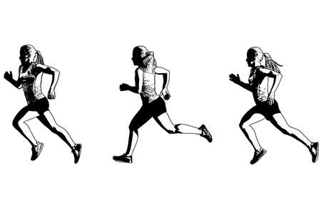 female sprinter sketch illustration - vector