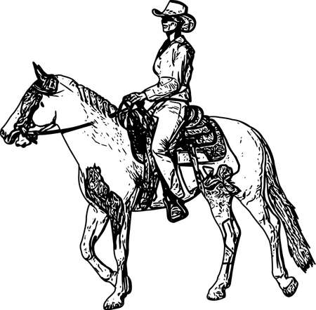 cowgirl riding horse sketch drawing - vector
