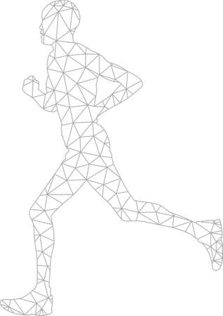 running man, wireframe triangles,low poly style - vector
