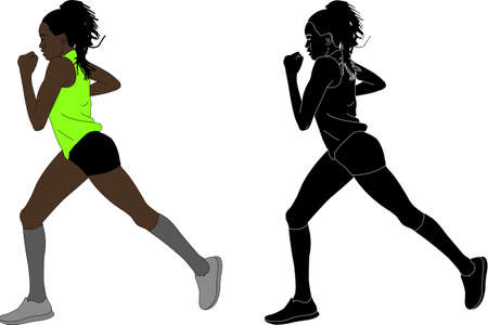 female marathon runner - vector illustration