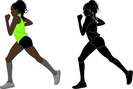 female marathon runner - vector illustration
