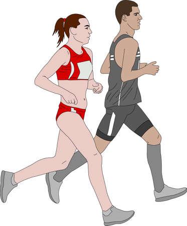 marathon runners couple - vector illustration