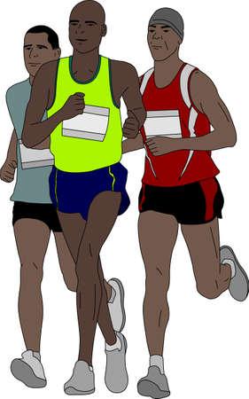 group of marathon runners - vector illustration Illustration