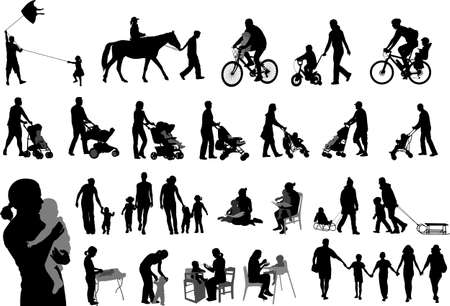 parents spending family time with their children silhouettes - vector Vettoriali
