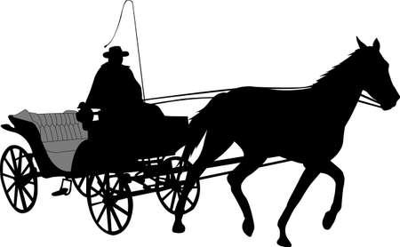 vintage carriage silhouette 2 - vector Stock Illustratie
