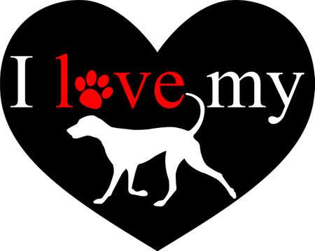 I love my dog - vector