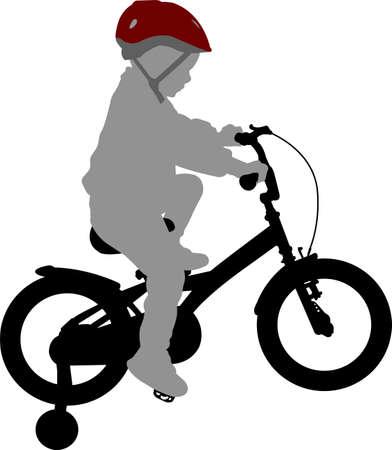 mały chłopiec jedzie na rowerze wysokiej jakości sylwetka - wektor