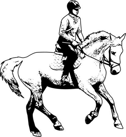 horse riding sketch illustration - vector Stock fotó - 134223430