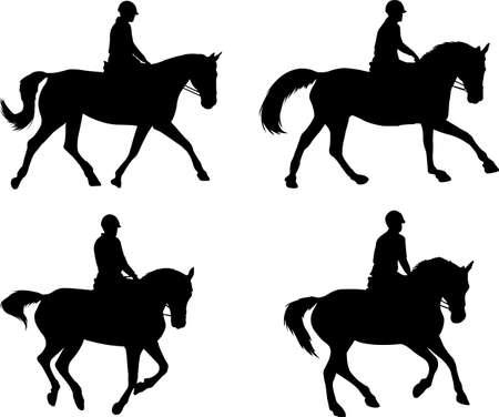 montar a caballo siluetas set - vector