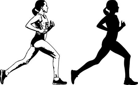 female runner sketch and silhouette - vector 向量圖像