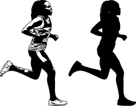 female runner sketch and silhouette - vector Illusztráció