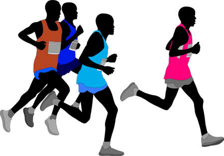 group of marathon runners silhouette - vector