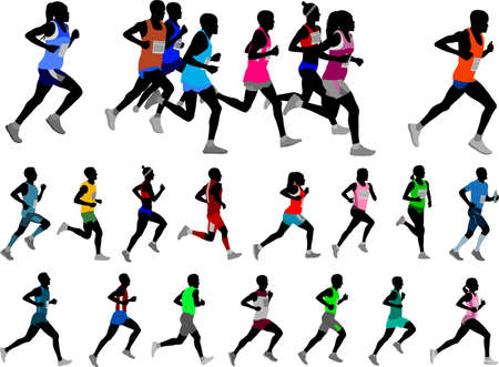 runners silhouettes collection - vector
