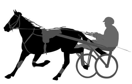 horse and jockey harness racing silhouette - vector Illustration