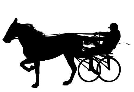 horse and jockey harness racing silhouette - vector Ilustração