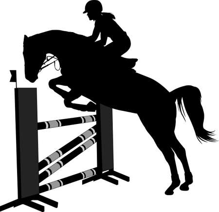 horse  with jockey jumping a hurdle silhouette