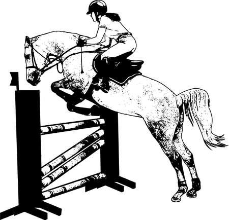 horse with jockey jumping a hurdle sketch Ilustração