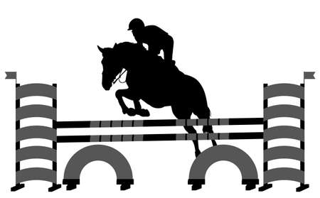 horse with jockey jumping a hurdle silhouette Stock fotó - 134537459