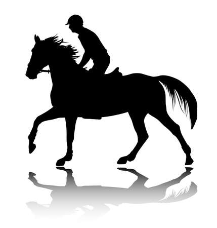 high quality silhouette of young man riding  horse - vector