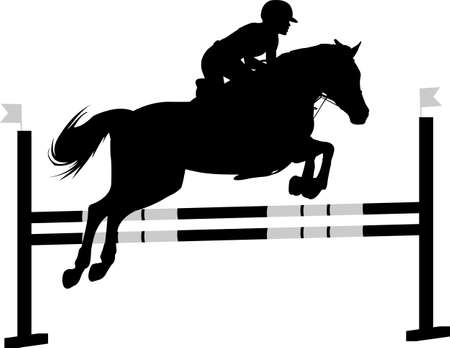 jumping show. horse with jockey jumping a hurdle silhouette - vector Illusztráció