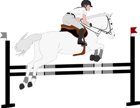 jumping show. horse with jockey jumping a hurdle color illustration - vector Illustration