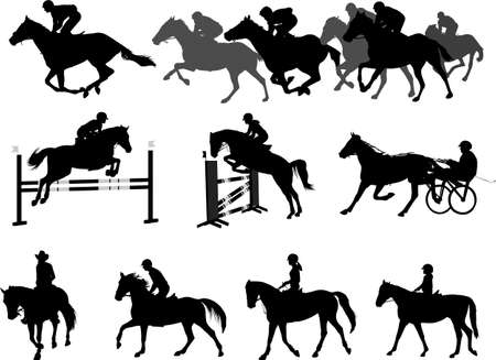 riding horses silhouettes set. equestrian sport and recreation - vector