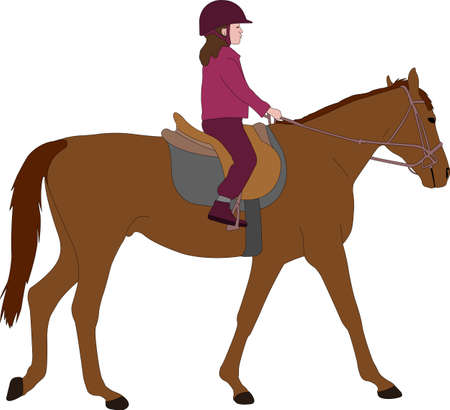 child riding a horse,color illustration - vector  イラスト・ベクター素材