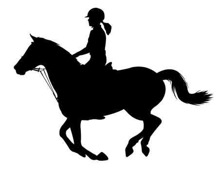 young woman riding a horse silhouette - vector