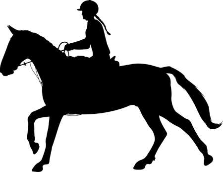 young woman riding horse silhouette. Equestrian sport. Equestrian dressage - vector