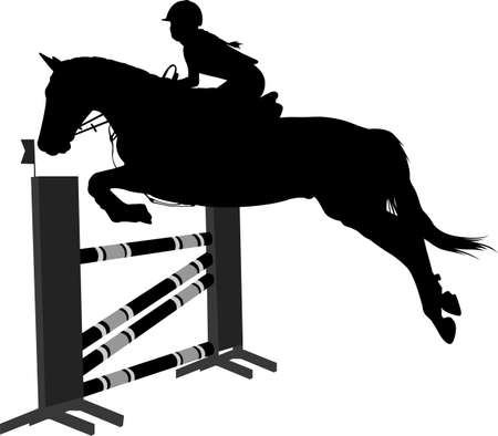 jumping show.equestrian sport  horse with jockey jumping a hurdle silhouette - vector Stock fotó - 134776429