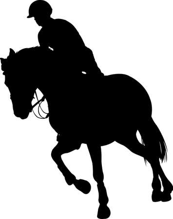 horse riding,equestrian sport silhouette - vector 向量圖像