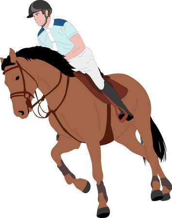 young horseman riding elegant horse color illustration - vector Stock fotó - 134824690